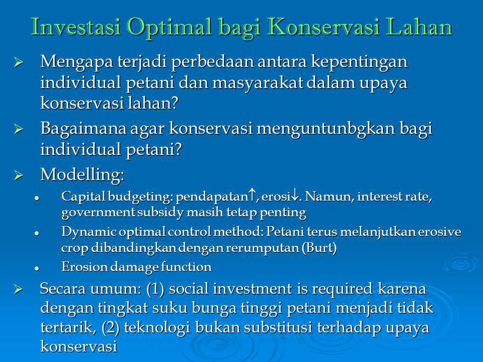 Investasi Optimal bagi Konservasi Lahan