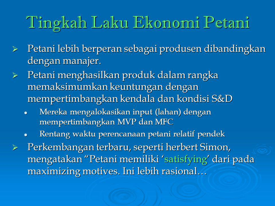 Tingkah Laku Ekonomi Petani