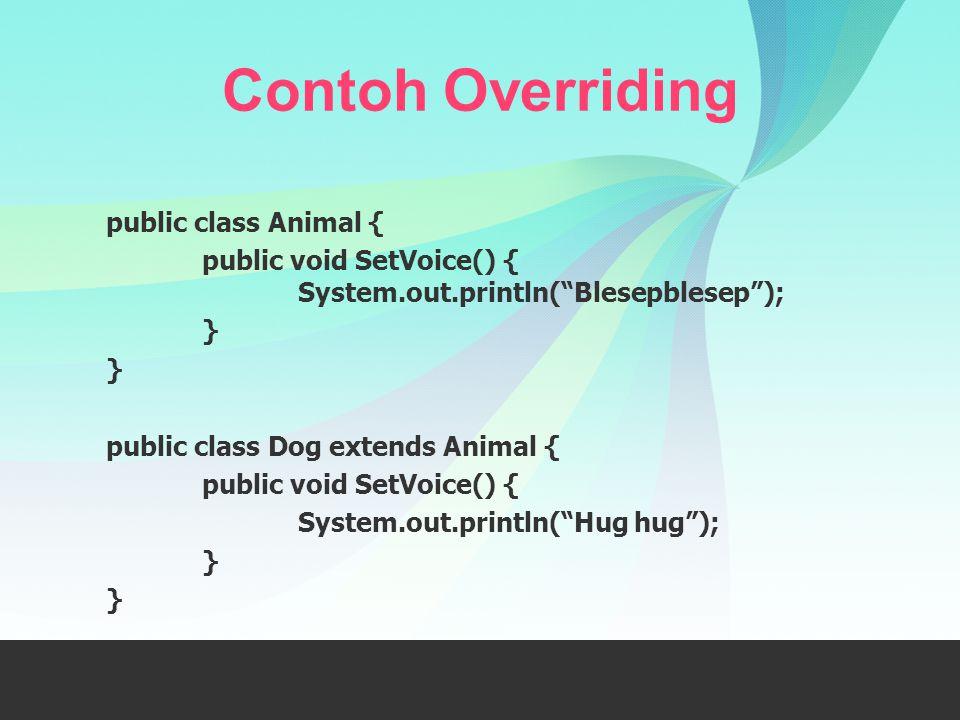 Contoh Overriding public class Animal {