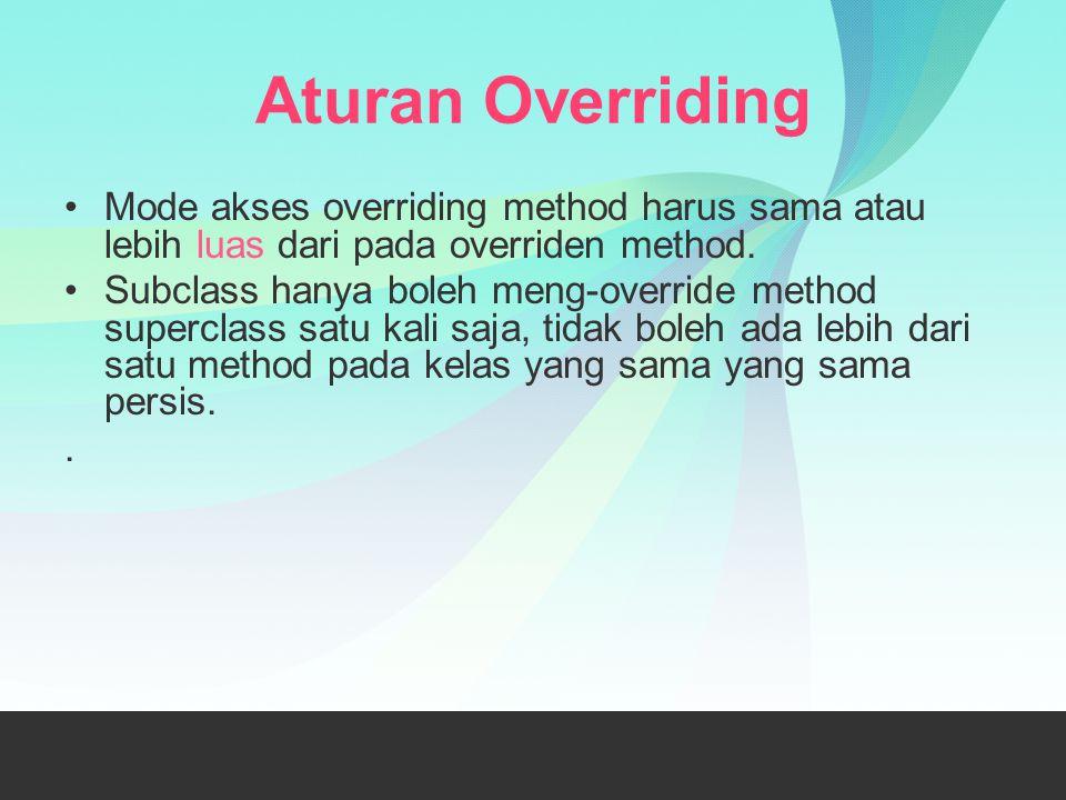 Aturan Overriding Mode akses overriding method harus sama atau lebih luas dari pada overriden method.