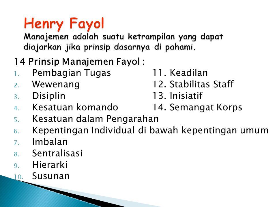 Henry Fayol Manajemen adalah suatu ketrampilan yang dapat diajarkan jika prinsip dasarnya di pahami.