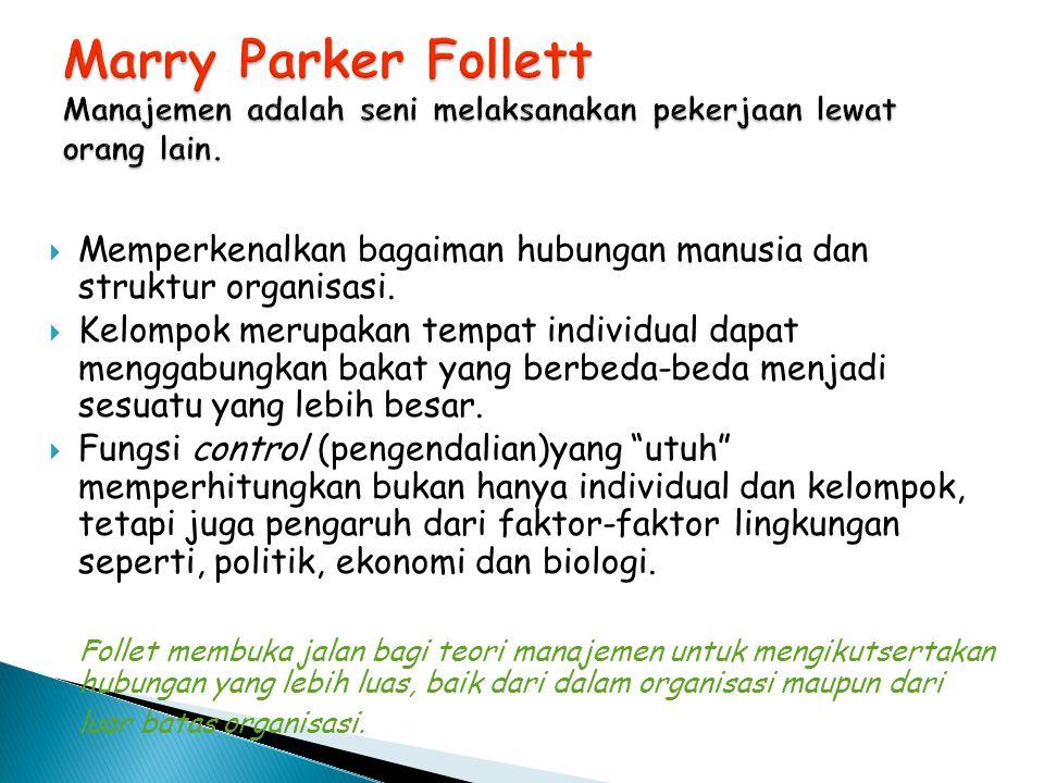 Marry Parker Follett Manajemen adalah seni melaksanakan pekerjaan lewat orang lain.