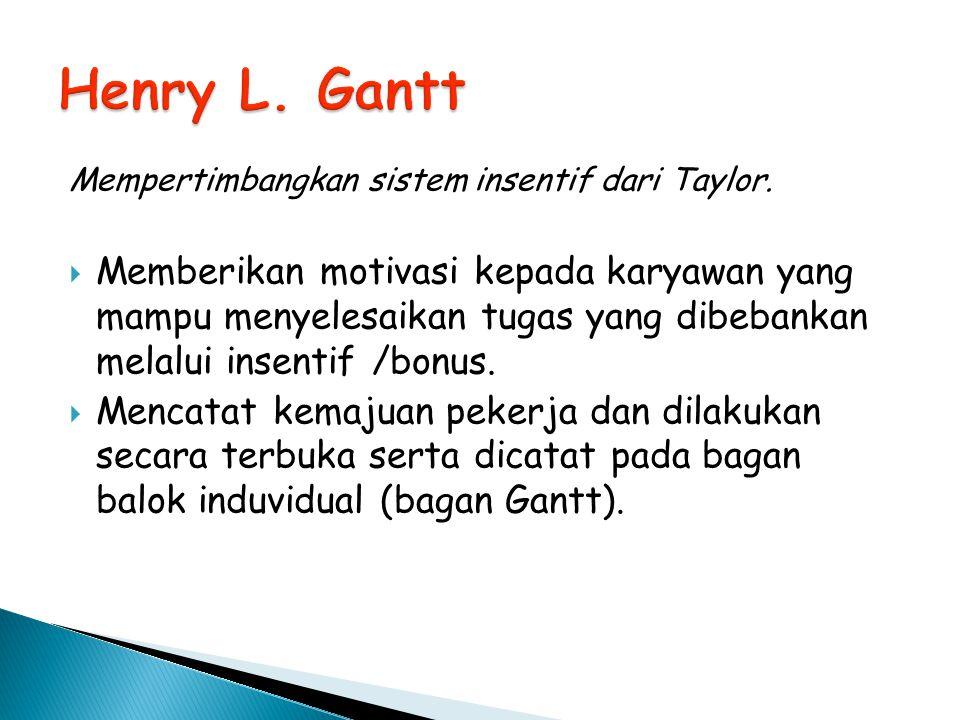 Henry L. Gantt Mempertimbangkan sistem insentif dari Taylor.