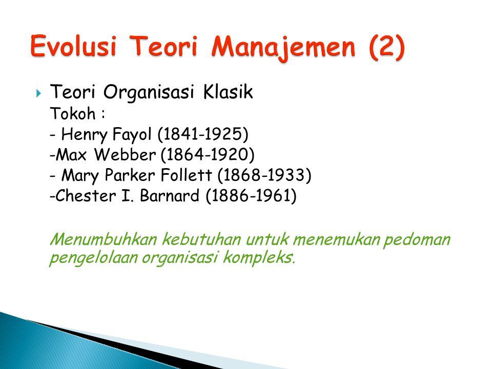 Evolusi Teori Manajemen (2)