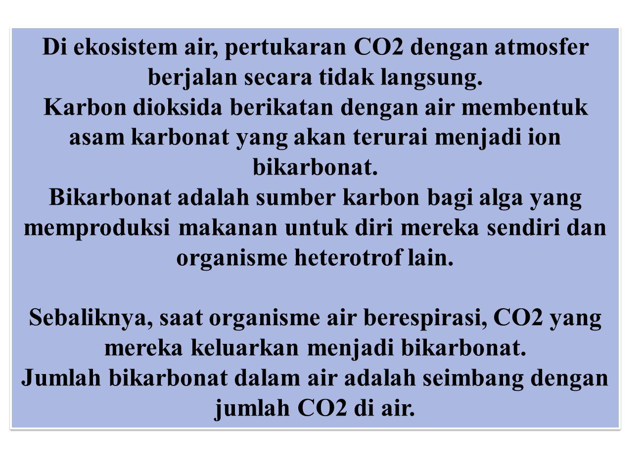 Jumlah bikarbonat dalam air adalah seimbang dengan jumlah CO2 di air.