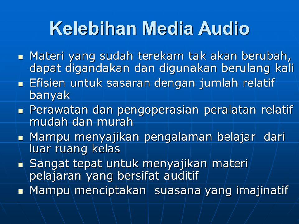 Kelebihan Media Audio Materi yang sudah terekam tak akan berubah, dapat digandakan dan digunakan berulang kali.