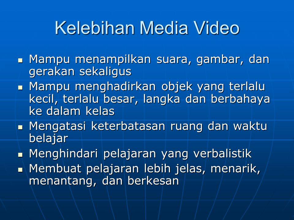 Kelebihan Media Video Mampu menampilkan suara, gambar, dan gerakan sekaligus.