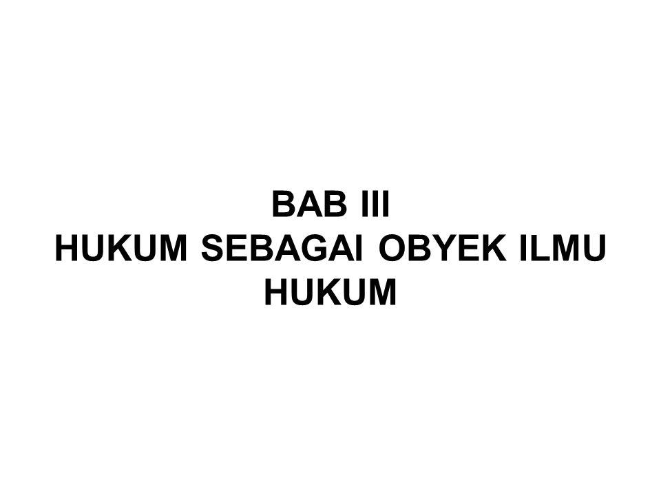BAB III HUKUM SEBAGAI OBYEK ILMU HUKUM