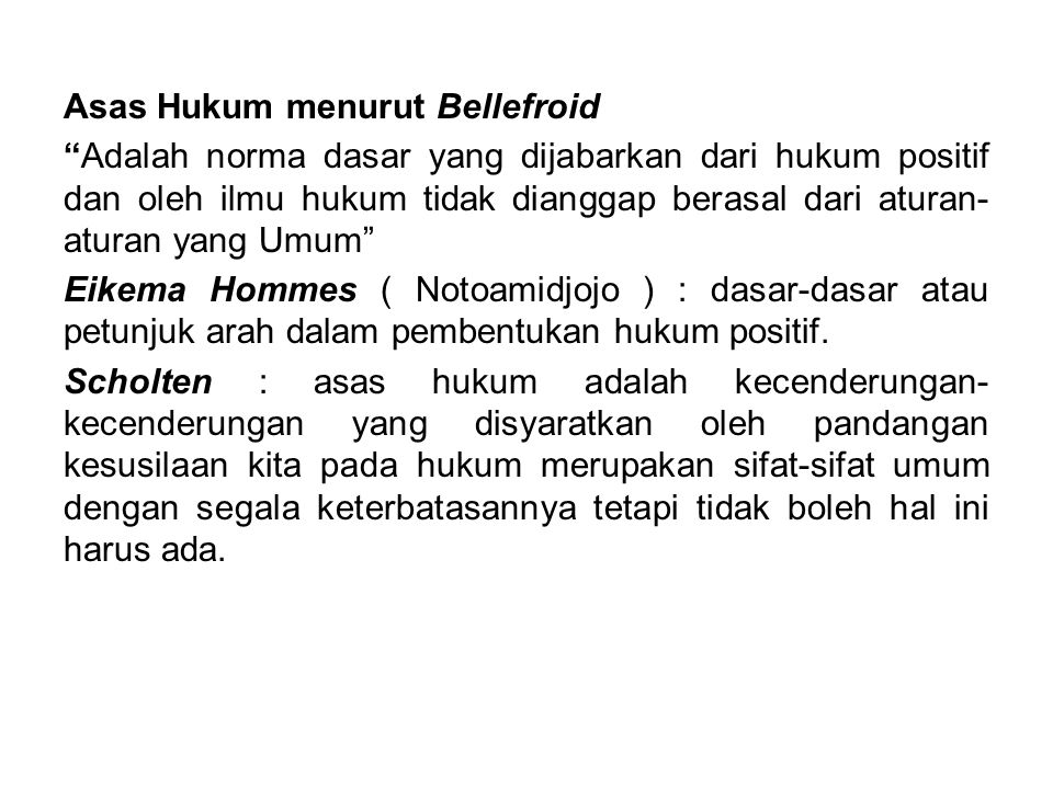 Asas Hukum menurut Bellefroid