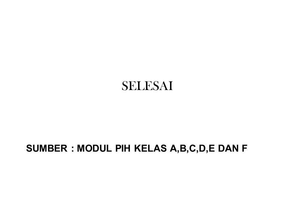 Sumber : MODUL PIH KELAS A,B,C,D,E dan F