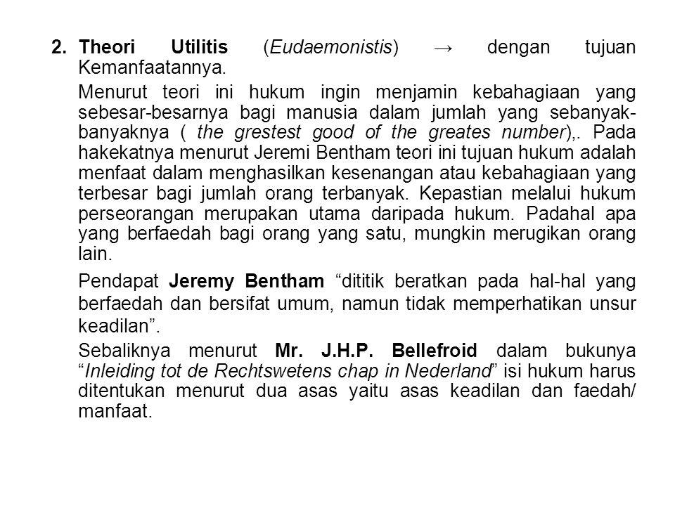 2. Theori Utilitis (Eudaemonistis) → dengan tujuan Kemanfaatannya