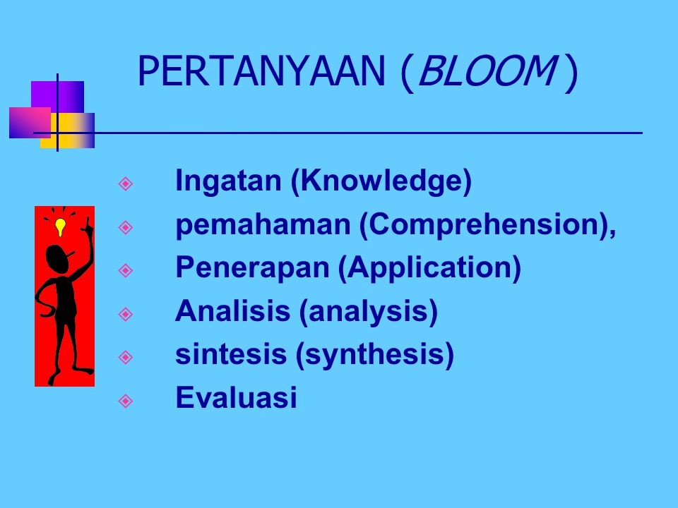 PERTANYAAN (BLOOM ) Ingatan (Knowledge) pemahaman (Comprehension),