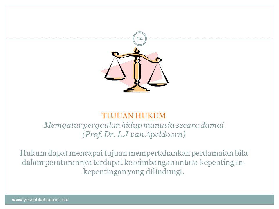TUJUAN HUKUM Memgatur pergaulan hidup manusia secara damai (Prof. Dr. L.J van Apeldoorn) Hukum dapat mencapai tujuan mempertahankan perdamaian bila dalam peraturannya terdapat keseimbangan antara kepentingan-kepentingan yang dilindungi.