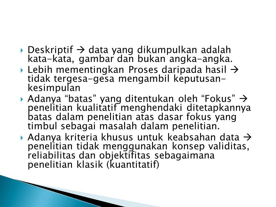 Deskriptif  data yang dikumpulkan adalah kata-kata, gambar dan bukan angka-angka.