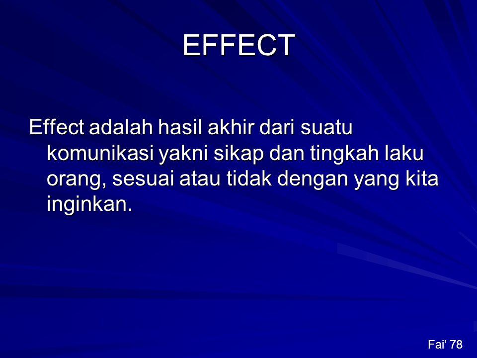 EFFECT Effect adalah hasil akhir dari suatu komunikasi yakni sikap dan tingkah laku orang, sesuai atau tidak dengan yang kita inginkan.