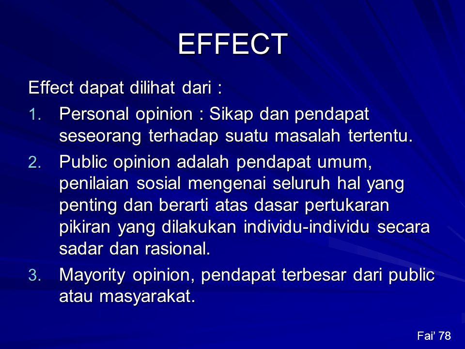 EFFECT Effect dapat dilihat dari :