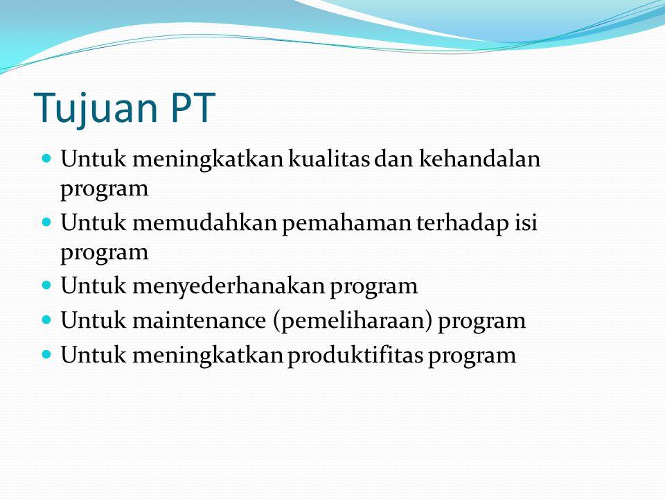 Tujuan PT Untuk meningkatkan kualitas dan kehandalan program