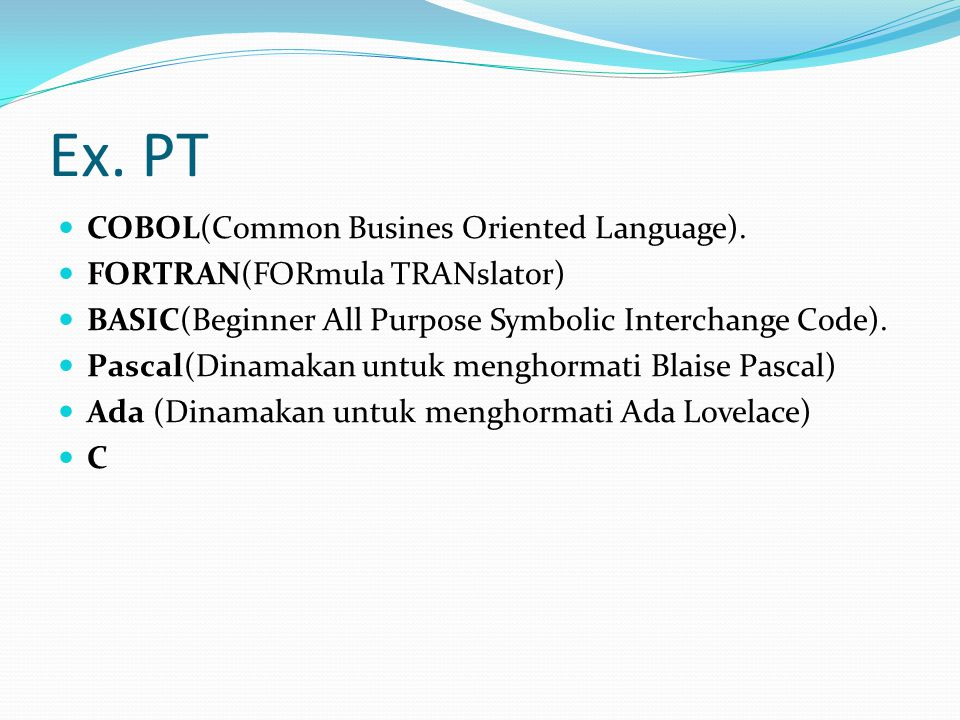 Ex. PT COBOL(Common Busines Oriented Language).