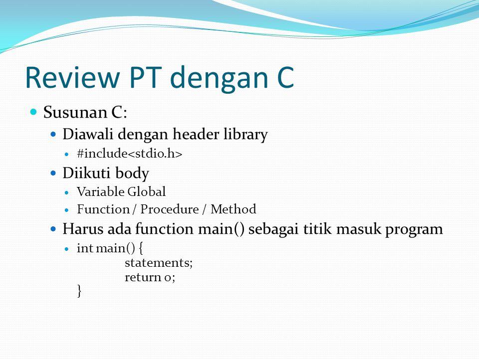 Review PT dengan C Susunan C: Diawali dengan header library
