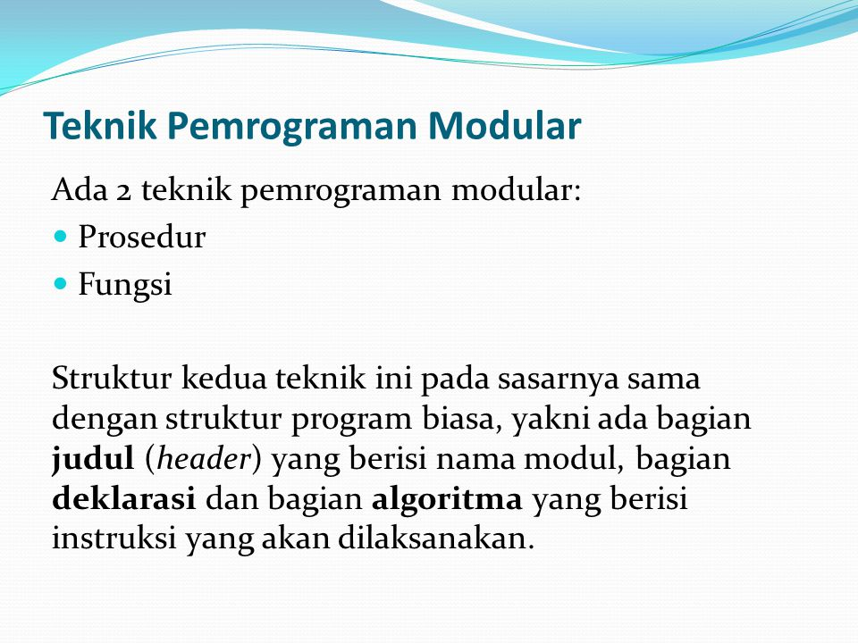 Teknik Pemrograman Modular