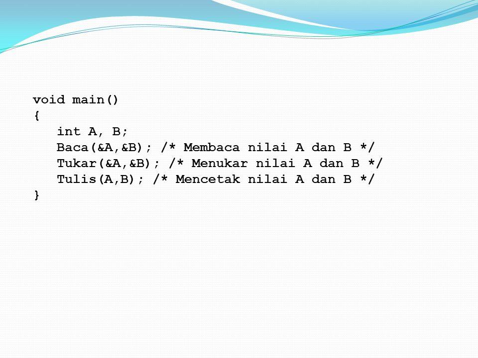 void main() { int A, B; Baca(&A,&B); /. Membaca nilai A dan B