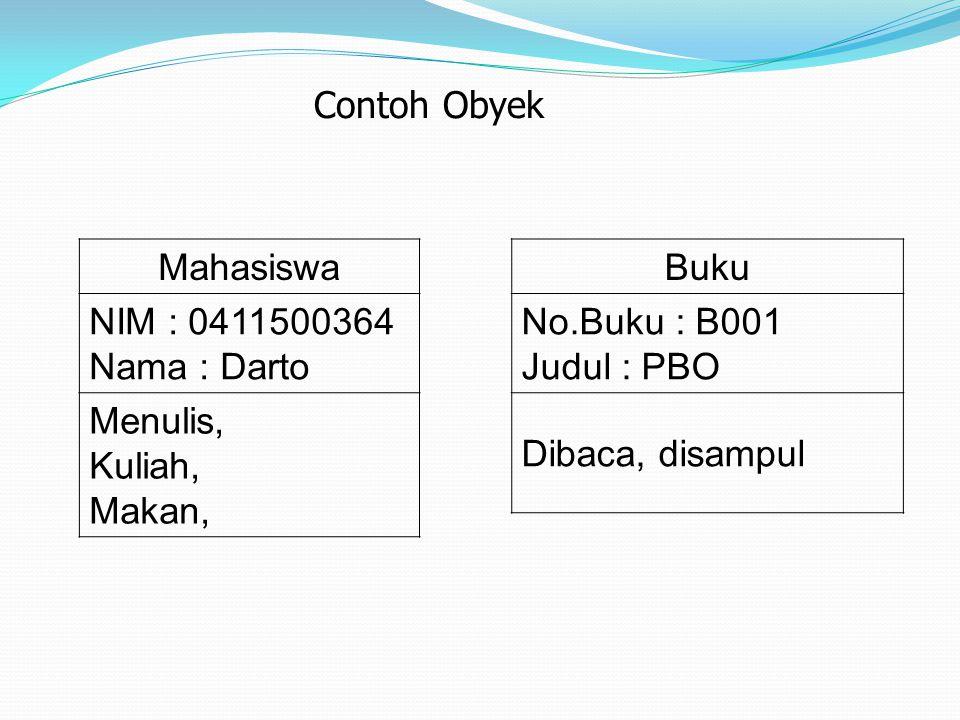 Contoh Obyek Mahasiswa. NIM : 0411500364. Nama : Darto. Menulis, Kuliah, Makan, Buku. No.Buku : B001.