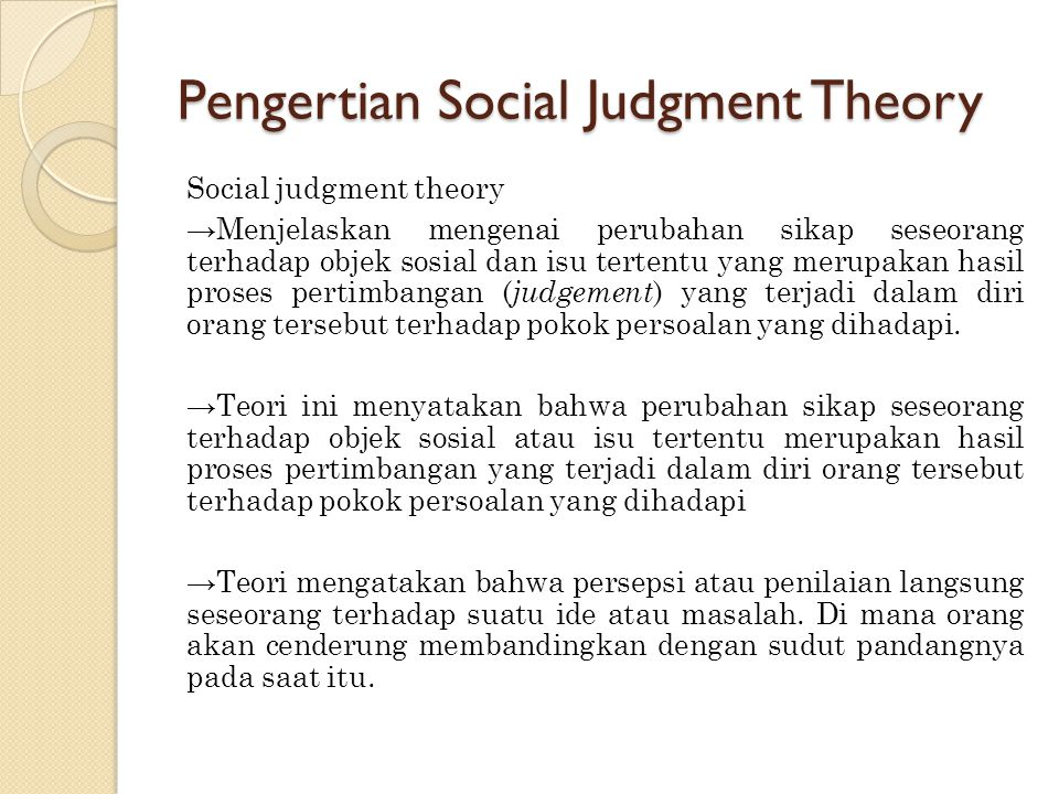 Pengertian Social Judgment Theory