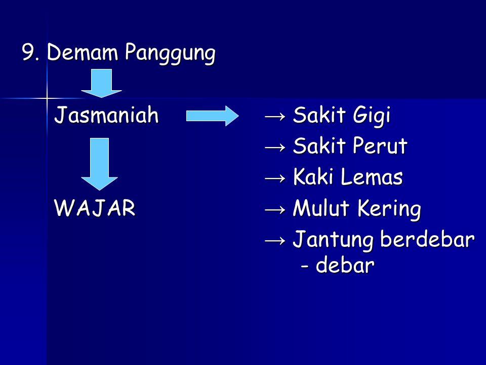 9. Demam Panggung Jasmaniah → Sakit Gigi. → Sakit Perut. → Kaki Lemas. WAJAR → Mulut Kering.