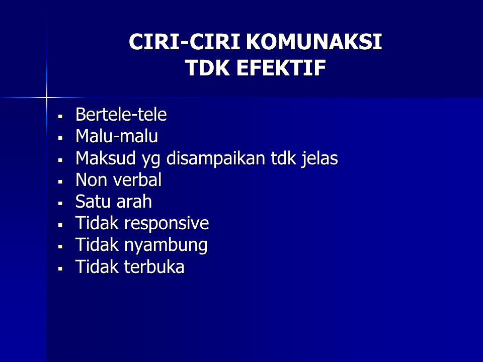 CIRI-CIRI KOMUNAKSI TDK EFEKTIF