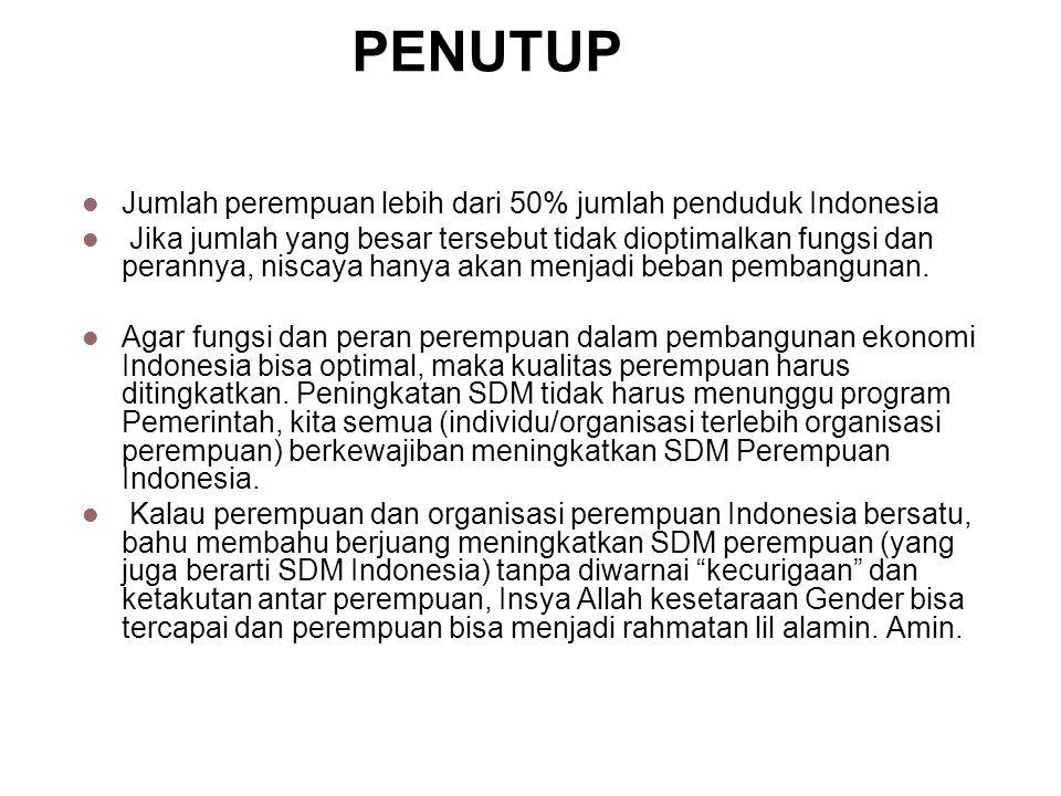 PENUTUP Jumlah perempuan lebih dari 50% jumlah penduduk Indonesia