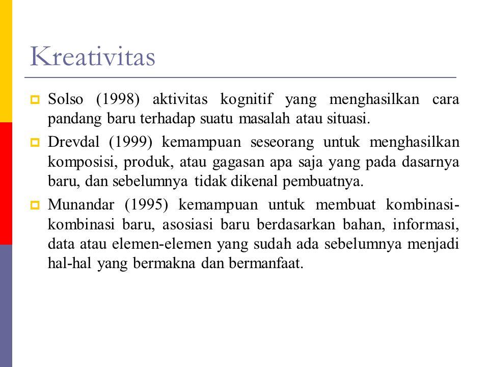 Kreativitas Solso (1998) aktivitas kognitif yang menghasilkan cara pandang baru terhadap suatu masalah atau situasi.