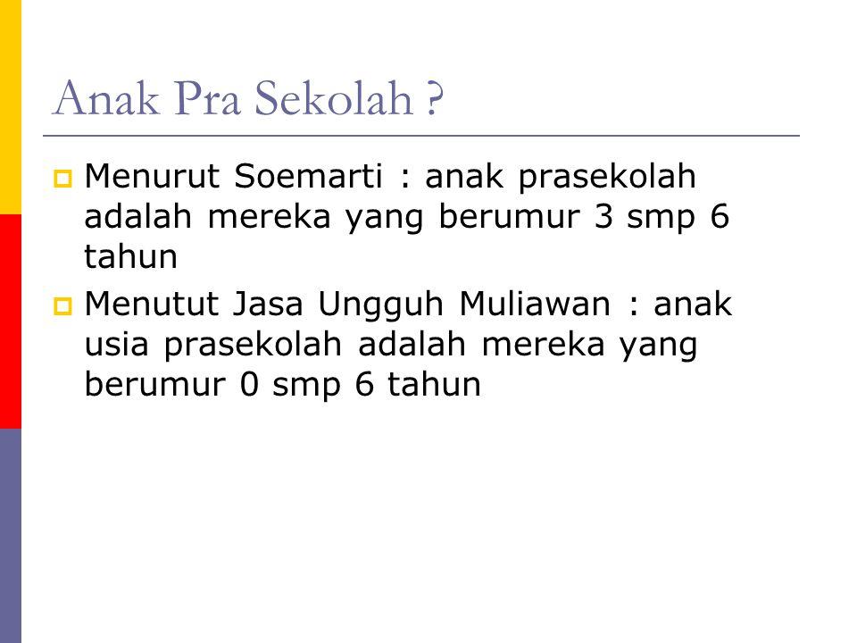 Anak Pra Sekolah Menurut Soemarti : anak prasekolah adalah mereka yang berumur 3 smp 6 tahun.
