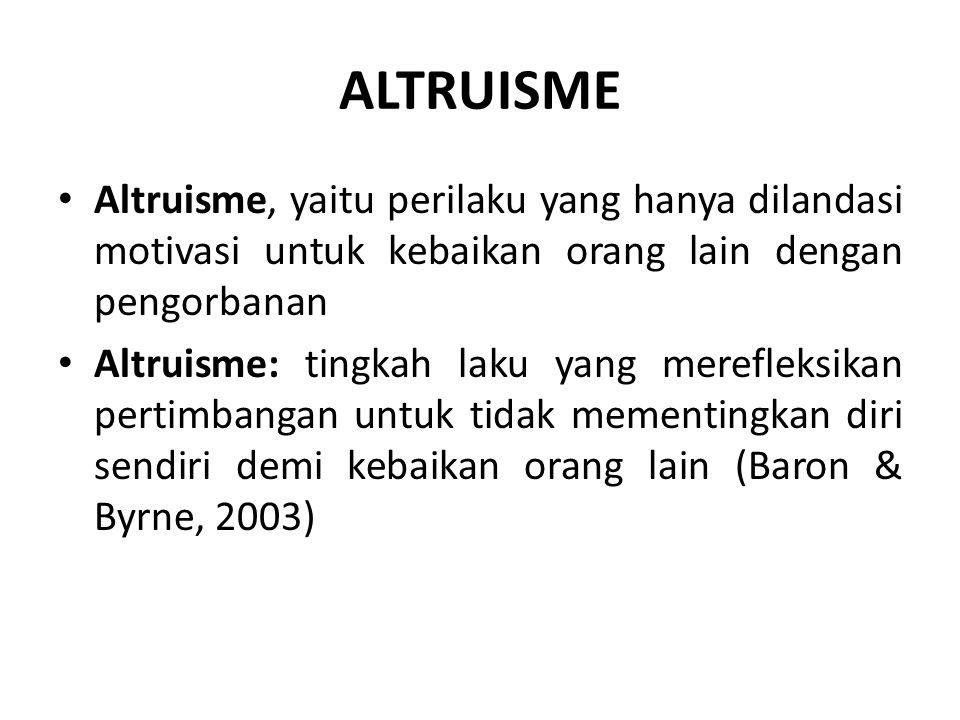 ALTRUISME Altruisme, yaitu perilaku yang hanya dilandasi motivasi untuk kebaikan orang lain dengan pengorbanan.