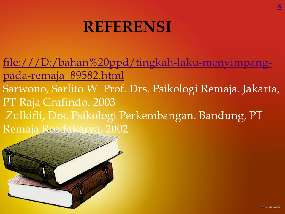 X REFERENSI. file:///D:/bahan%20ppd/tingkah-laku-menyimpang-pada-remaja_89582.html.