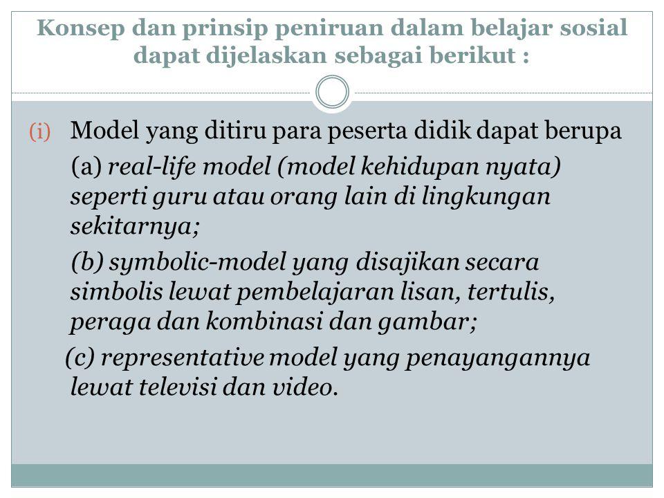 Model yang ditiru para peserta didik dapat berupa