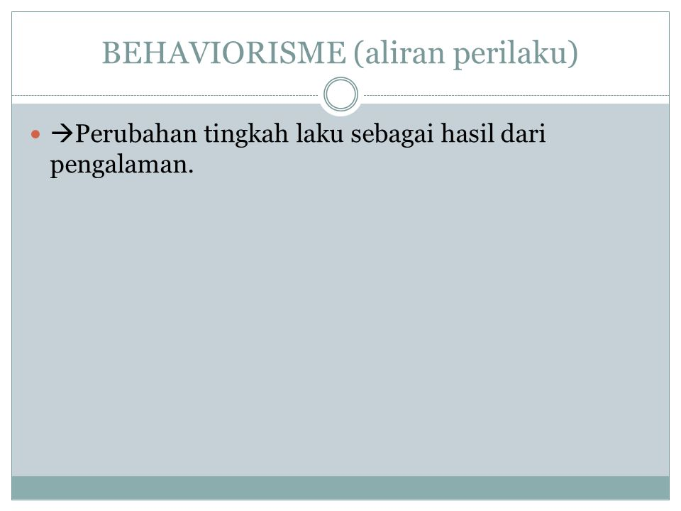 BEHAVIORISME (aliran perilaku)