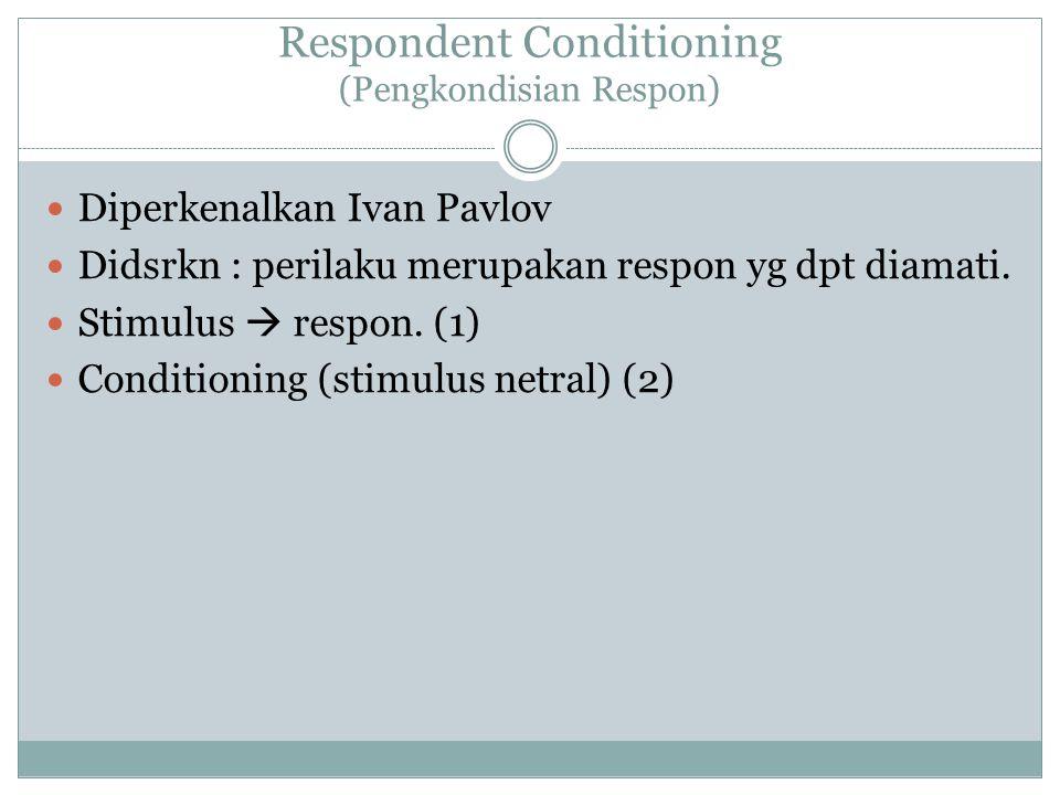 Respondent Conditioning (Pengkondisian Respon)