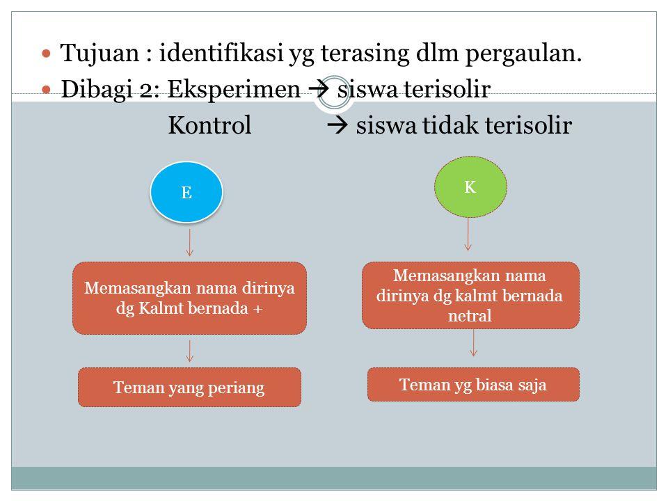 Tujuan : identifikasi yg terasing dlm pergaulan.