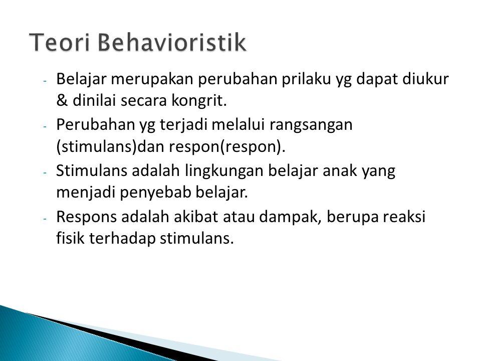 Teori Behavioristik Belajar merupakan perubahan prilaku yg dapat diukur & dinilai secara kongrit.