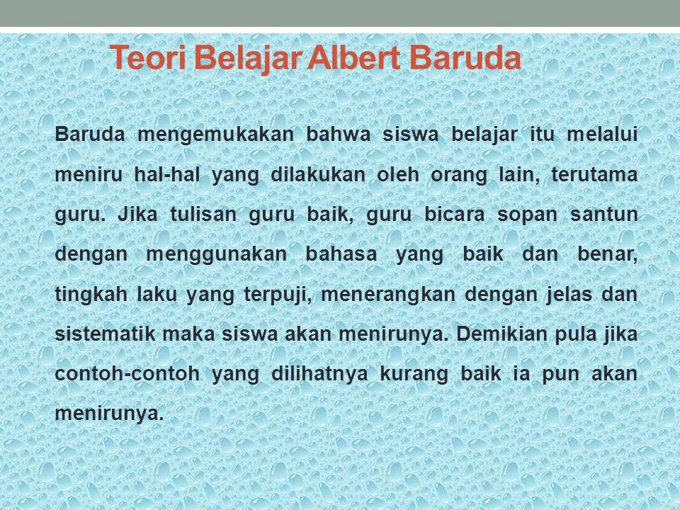 Teori Belajar Albert Baruda