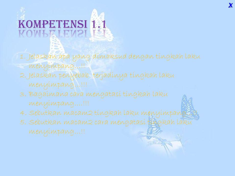 X Kompetensi 1.1. Jelaskan apa yang dimaksud dengan tingkah laku menyimpang…!! Jelaskan penyebab terjadinya tingkah laku menyimpang…!!!