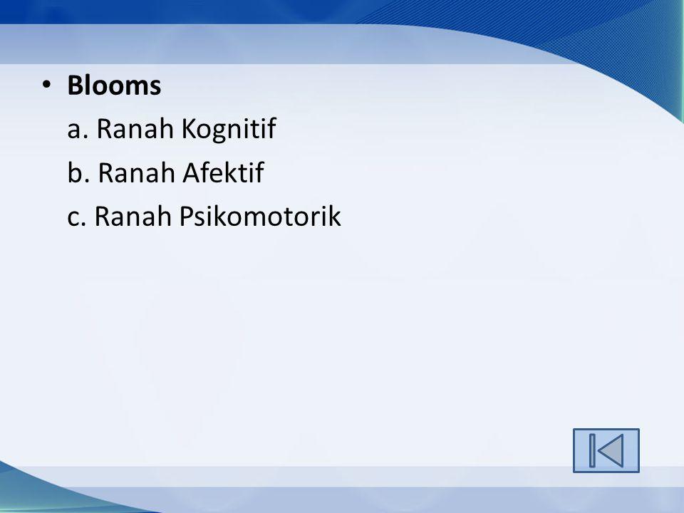 Blooms a. Ranah Kognitif b. Ranah Afektif c. Ranah Psikomotorik