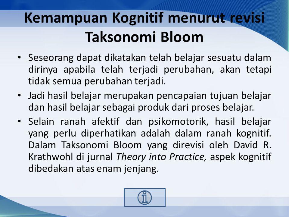 Kemampuan Kognitif menurut revisi Taksonomi Bloom