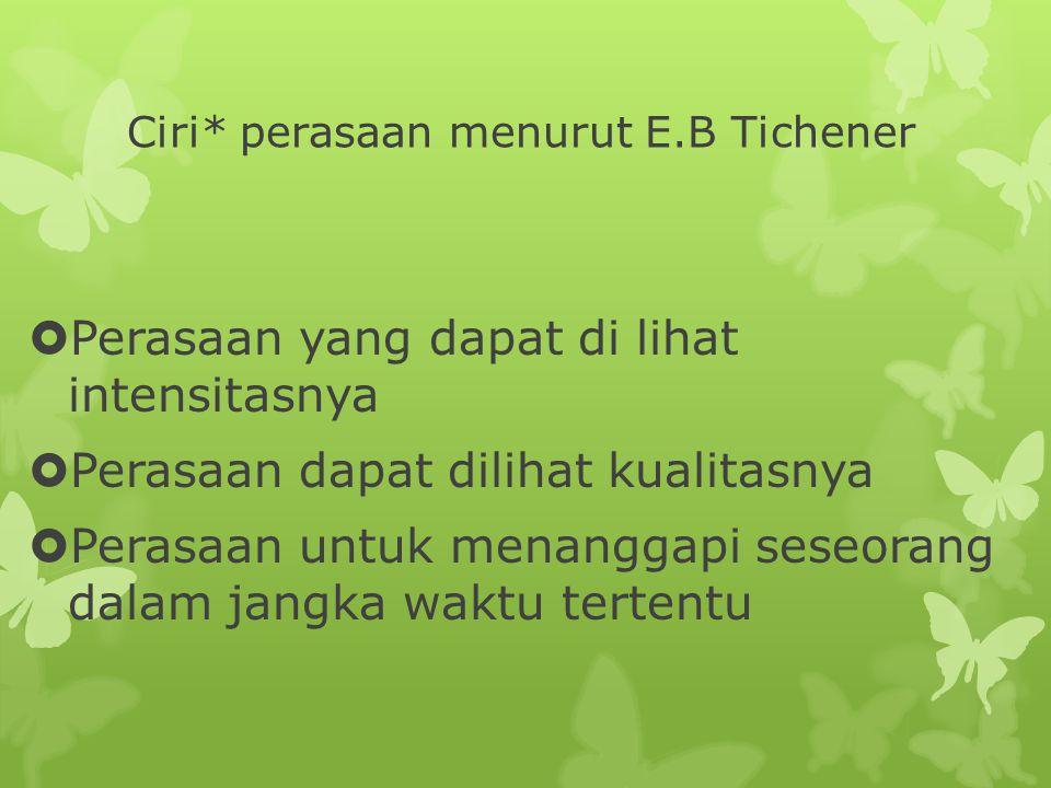 Ciri* perasaan menurut E.B Tichener