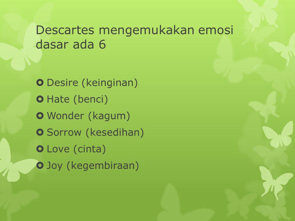 Descartes mengemukakan emosi dasar ada 6