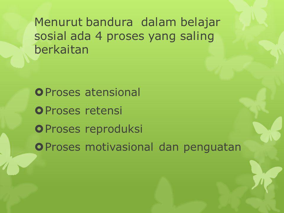 Menurut bandura dalam belajar sosial ada 4 proses yang saling berkaitan