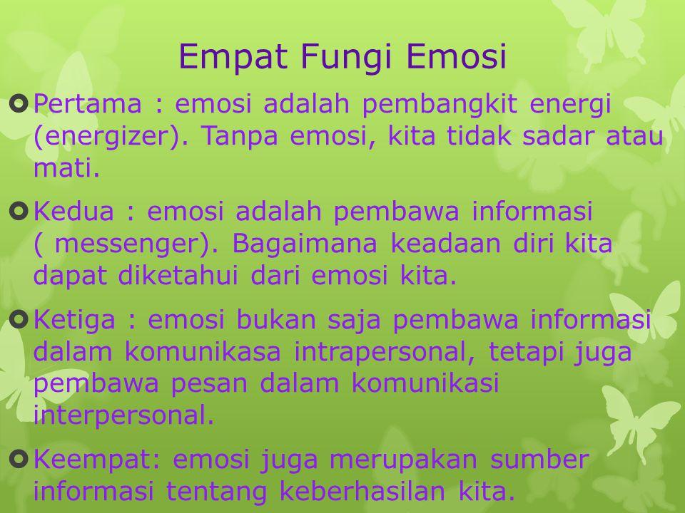 Empat Fungi Emosi Pertama : emosi adalah pembangkit energi (energizer). Tanpa emosi, kita tidak sadar atau mati.