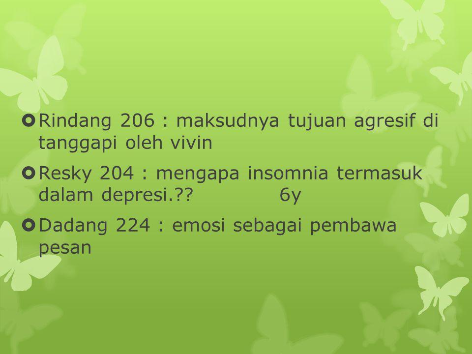Rindang 206 : maksudnya tujuan agresif di tanggapi oleh vivin