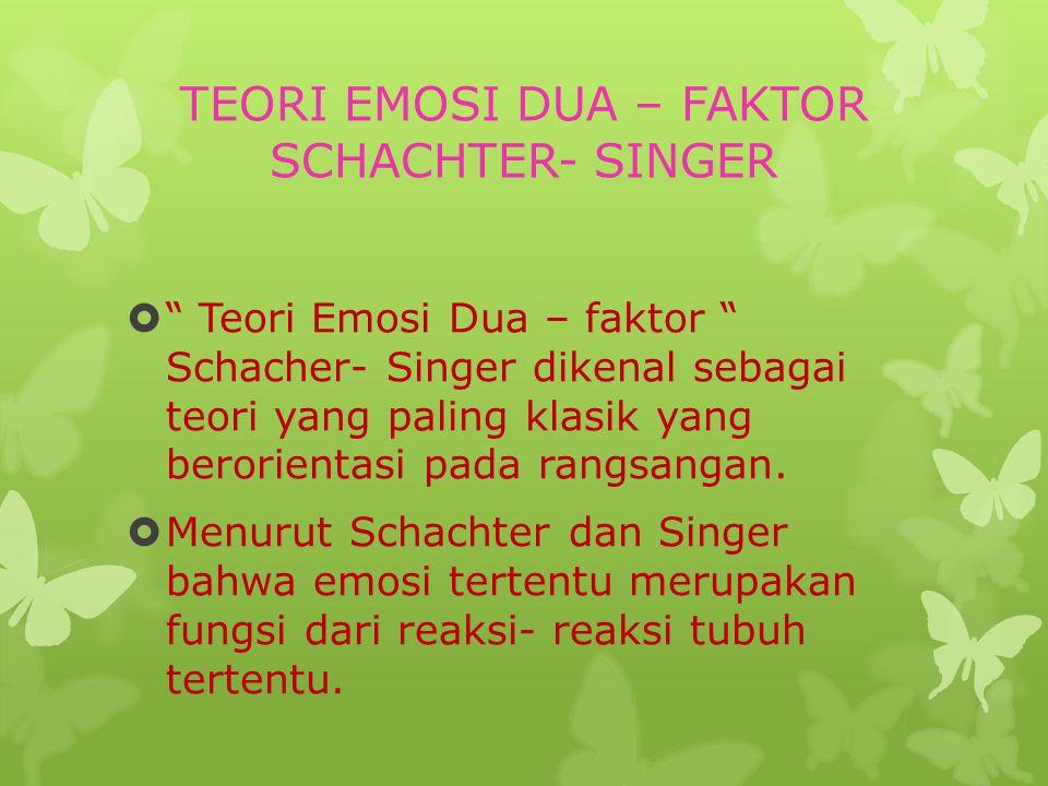 TEORI EMOSI DUA – FAKTOR SCHACHTER- SINGER