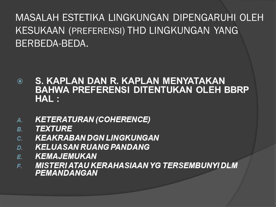 MASALAH ESTETIKA LINGKUNGAN DIPENGARUHI OLEH KESUKAAN (PREFERENSI) THD LINGKUNGAN YANG BERBEDA-BEDA.